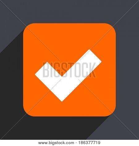 Accept orange flat design web icon isolated on gray background
