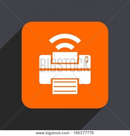 Printer orange flat design web icon isolated on gray background