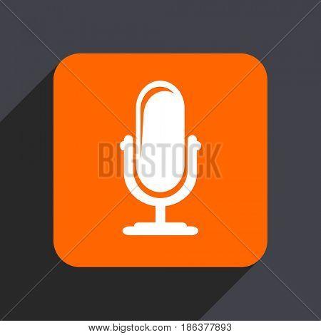 Microphone orange flat design web icon isolated on gray background