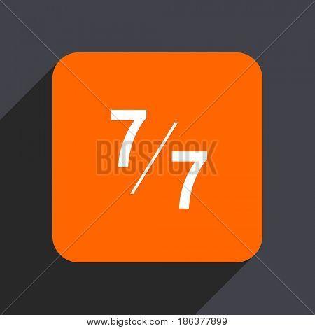 7 per 7 orange flat design web icon isolated on gray background