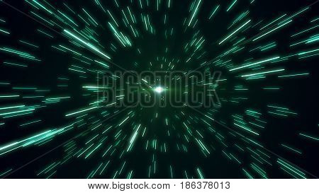 hyperspace star field zoom blur 3d illustration