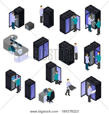 People in data center isometric set with hosting servers cloud technology repair service isolated vector illustration