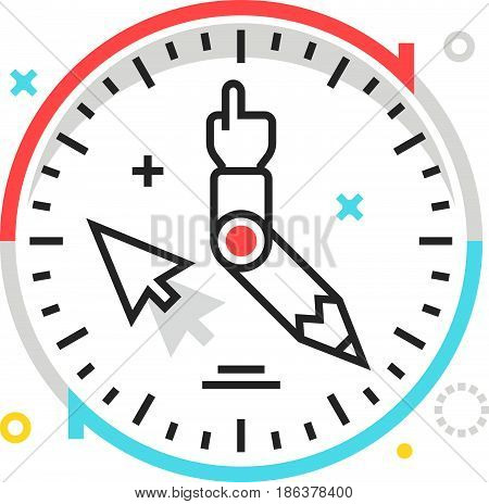 Color Box Icon, Work Hours Illustration, Icon