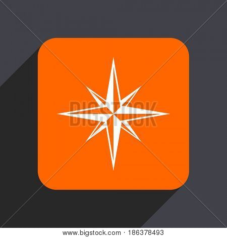Compass orange flat design web icon isolated on gray background