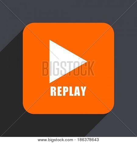 Replay orange flat design web icon isolated on gray background