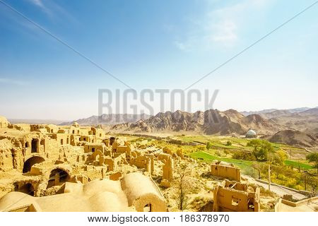View over ancient city of Karanaq by Yazd