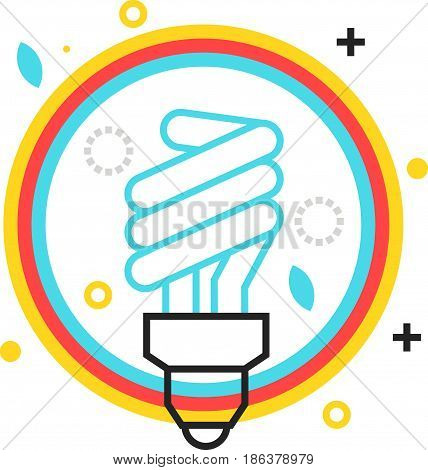Color Box Icon, Energy Efficient Lamp Illustration, Icon