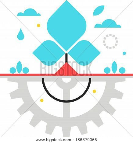 Color Box Icon, Green Technology Illustration, Icon