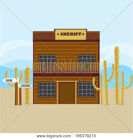 Western sheriff house facade template with cactuses on light desert landscape vector illustration