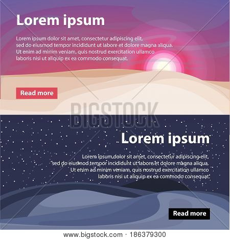Beautiful desert landscape horizontal banners with text sand dunes at sunrise or sunset and night time vector illustration