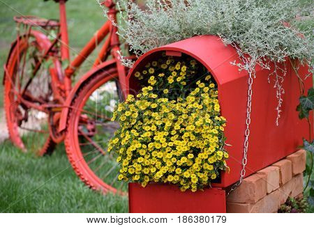 Close view on the red mailbox decorated with yellow flowers and with the red old bicycle in background...photo taken at FloraArt Zagreb