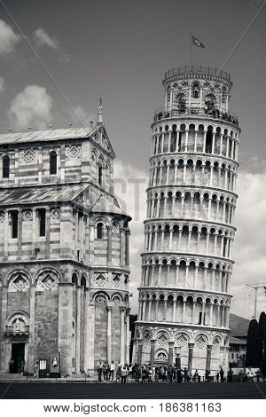 PISA - MAY 20: Leaning Tower and tourists on May 20, 2016 in Pisa, Italy. Piazza dei Miracoli  is known as an important center of European medieval art.