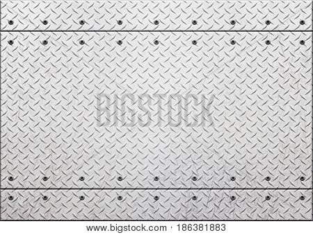 Grunge Metal Background With Rows Of Bolts, 3D, Illustration