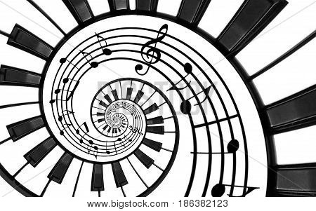 Piano keyboard printed music abstract fractal spiral pattern background. Black and white piano keys round spiral. Spiral stair. Piano helical pattern abstract background. Abstract isolated piano spiral