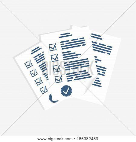Survey form paper sheets. Exam form checklist for assessment questionnaire or quiz form. Vector
