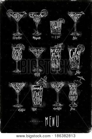 Cocktail menu graphic lettering bloody mary blue lagoon cosmopolitan cuba libre daiquiri martini gin tonic manhattan margarita mojito pina colada spritz drawing with chalk on chalkboard