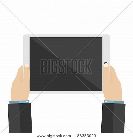 Businessman holds tablet pc. Using digital tablet pc. Flat design. Vector