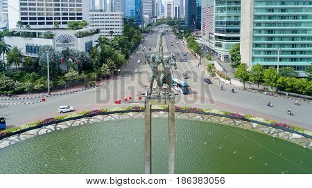 JAKARTA Indonesia. May 12 2017: top view of welcome statue in the downtown Jakarta