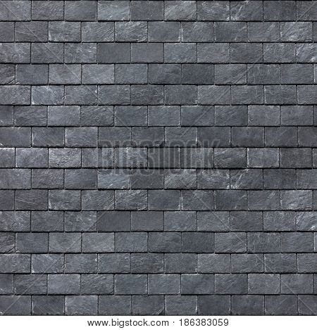 Roof (wall) of the Silesian black shale. Slate roofing tiles background image texture