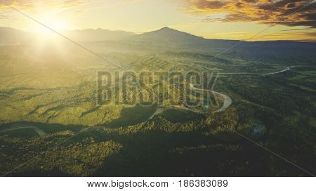 Beautiful landscape with sunny morning in mountain valley. Shot at Majalengka West Java Indonesia