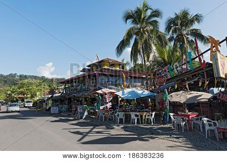 PUERTO VIEJO, COSTA RICA MARCH 18, 2017: Colorful bar and restaurante in Puerto Viejo, Costa Rica