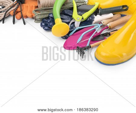 Tools for working in the garden. On a white background.