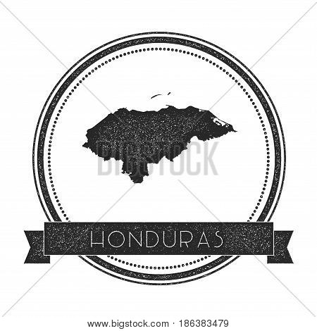 Retro Distressed Honduras Badge With Map. Hipster Round Rubber Stamp With Country Name Banner, Vecto