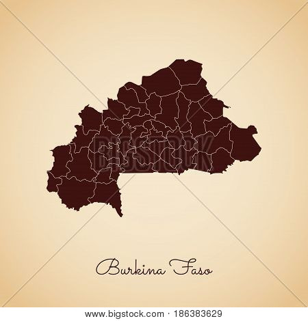 Burkina Faso Region Map: Retro Style Brown Outline On Old Paper Background. Detailed Map Of Burkina