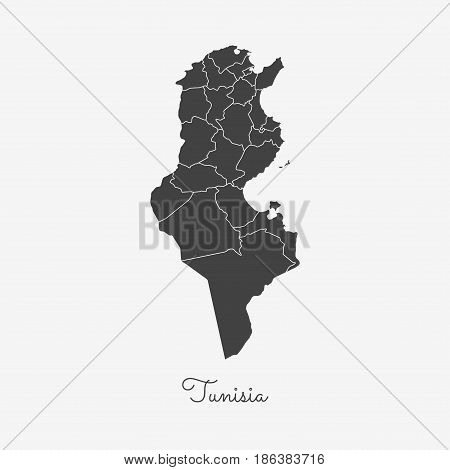 Tunisia Region Map: Grey Outline On White Background. Detailed Map Of Tunisia Regions. Vector Illust