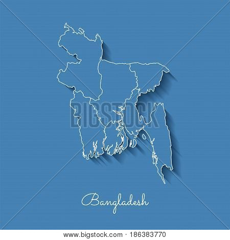 Bangladesh Region Map: Blue With White Outline And Shadow On Blue Background. Detailed Map Of Bangla