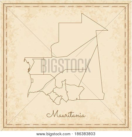 Mauritania Region Map: Stilyzed Old Pirate Parchment Imitation. Detailed Map Of Mauritania Regions.