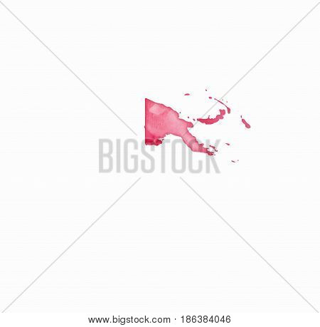Papua New Guinea Watercolor Map In Red Colors. Visit Papua New Guinea Poster With Airplane Trace And