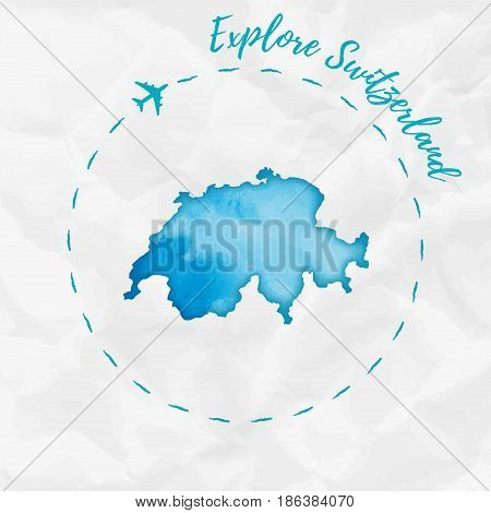 Switzerland Watercolor Map In Turquoise Colors. Explore Switzerland Poster With Airplane Trace And H