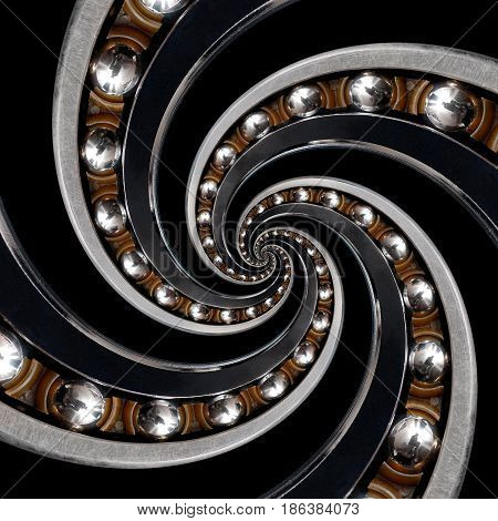 Abstract pattern spiral Ball Bearing background. Bearing manufacturing technology abstract fractal pattern background. Production abstract effect fractal. Spiral coils of balls. Product