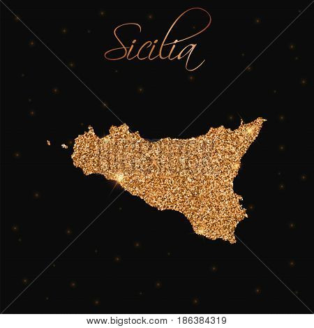 Sicilia Map Filled With Golden Glitter. Luxurious Design Element, Vector Illustration.
