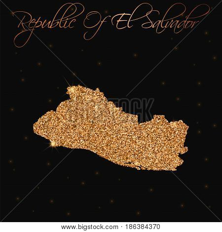 Republic Of El Salvador Map Filled With Golden Glitter. Luxurious Design Element, Vector Illustratio