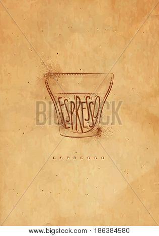 Espresso cup lettering espresso in vintage graphic style drawing with craft
