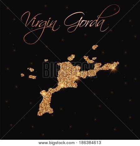 Virgin Gorda Map Filled With Golden Glitter. Luxurious Design Element, Vector Illustration.