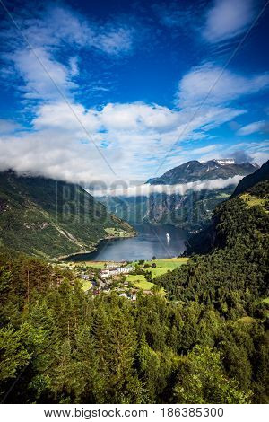 Geiranger fjord, Beautiful Nature Norway. It is a 15-kilometre (9.3 mi) long branch off of the Sunnylvsfjorden, which is a branch off of the Storfjorden (Great Fjord).