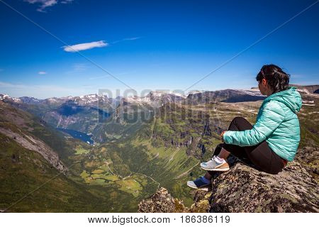 Tourism vacation and traveling. Geiranger fjord, Beautiful Nature Norway panorama.15-kilometre (9.3 mi) long branch off of the Sunnylvsfjorden, which is a branch off of the Storfjorden (Great Fjord).