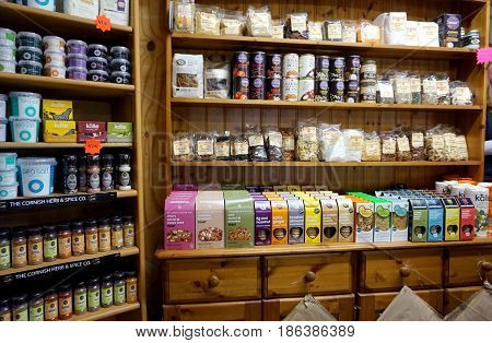 Cornwall, England, Uk - April 7Th 2017: Selection Of Organic Goods And Produce In A Cornish Farm Sho