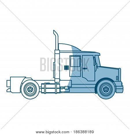 semi truck cab vehicle commerce outline vector illustration