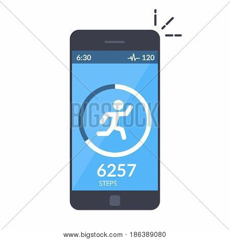 Application on the mobile phone to track the steps, the pedometer. App for morning jogging or fitness. The concept of the interface design of the apps. Isolated flat illustration
