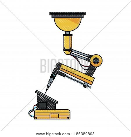 automation industry rendering monitor screen with robotic arm vector illustration