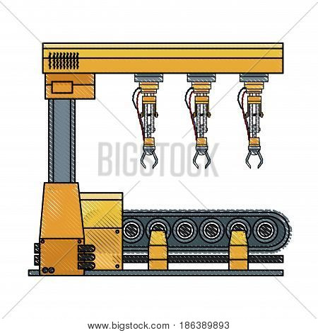 robotic arm assemble line mechanic manufacturing factory robot operator production vector illustration