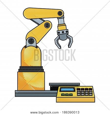 digital controller for robot in factory. smart factory industry vector rillustration