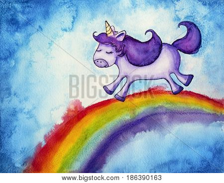 Illustration of a cute little unicorn