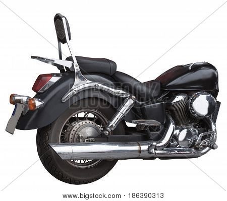 black end motorcycle isolated on white background