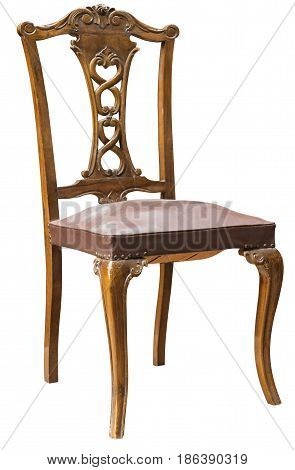 brown antique chair isolated on white background
