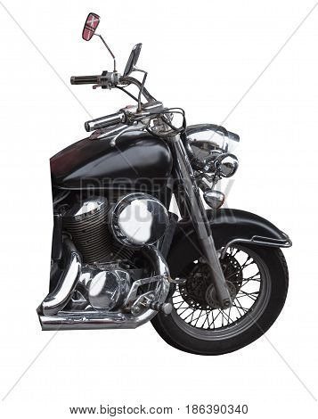 front wheel black motorcycle isolated on white background